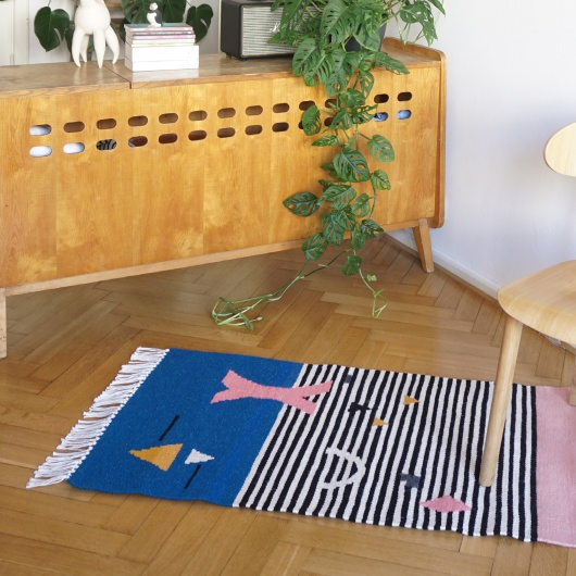 Kilim SHAPES ON STRIPES | 100 x 150 cm