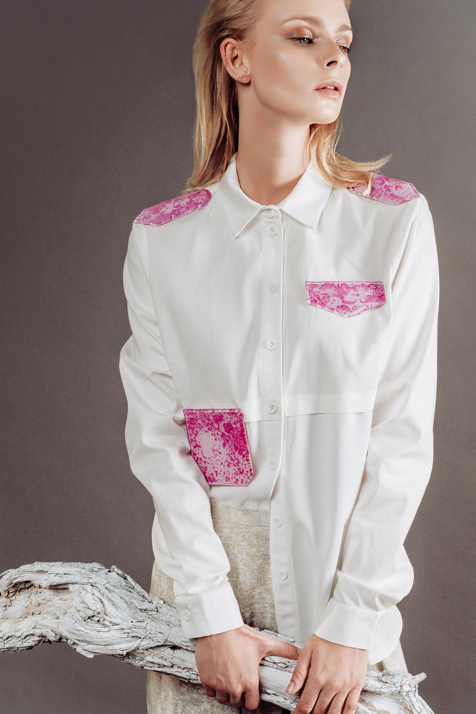Koszula damska z tkanin łączonych Gust Gust  EyFQa