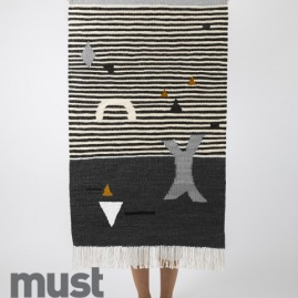 Kilim SHAPES ON STRIPES GRAY | 70 x 120 cm